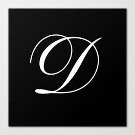 Elegant And Stylish Black And White Monogram D Canvas Print