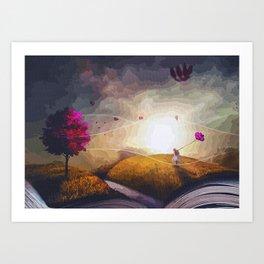 Kid Fighting The Wind Art Print