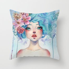 Blue Hair Throw Pillow