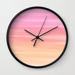 Striped Gradient in Pink & Orange Wall Clock