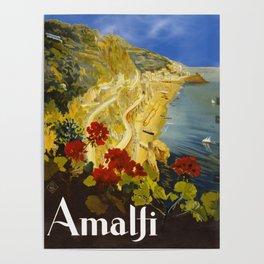Vintage Amalfi Italy Travel Poster