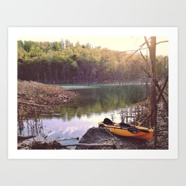 Exploring the lake, looking for new places. Art Print