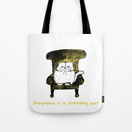 Everywhere is a Scratching Post  (Yellow) Tote Bag
