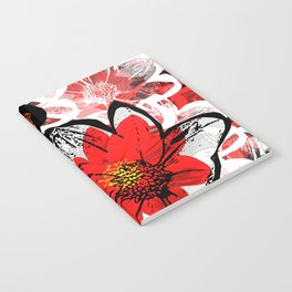 Red and Black Daisy Notebook