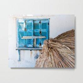 Distressed Blue Wooden Shutters and Beach Umbrella in Crete. Metal Print