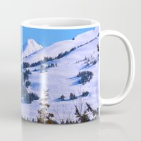 skiing Mugs featuring Back-Country Skiing  - IV by Alaskan Momma Bear