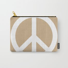 Peace (White & Tan) Carry-All Pouch