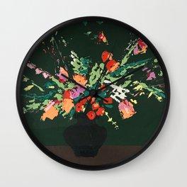 Flowers on Green Wall Clock
