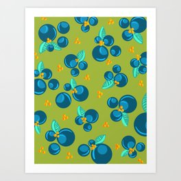 Blueberries | Green Art Print