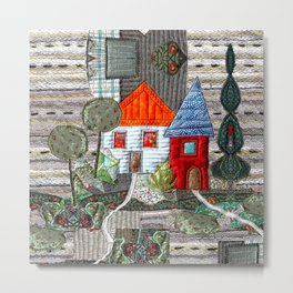 Little house with orange roof Metal Print