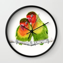 Love Birds - birds, nature, wildlife Wall Clock