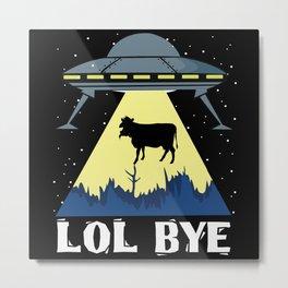 Aliens Cow Lol Science Fiction Metal Print