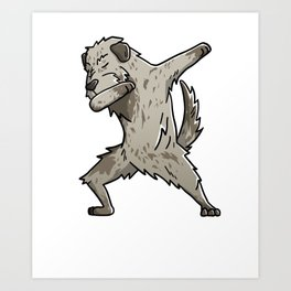 Funny Dabbing Irish Wolfhound Dog Dab Dance Art Print