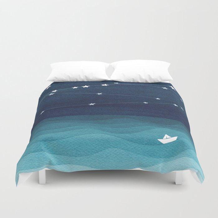 Garlands of stars, watercolor teal ocean Bettbezug