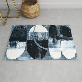 Mid Century Modern Abstract Cocoons in Blue Rug
