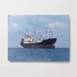 Cargo Ship In The Black Sea Metal Print