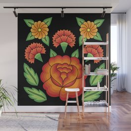 Mexican Folk Pattern – Tehuantepec Huipil flower embroidery Wall Mural