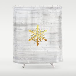 Snow in Gold Shower Curtain