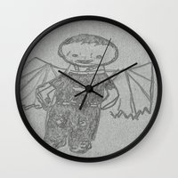 goth Wall Clocks featuring Goth Boy by Drake Darklight