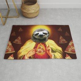 Holy Pizza Sloth Lord Jesus All over big print Animal Savior Rug