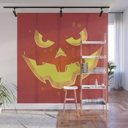 Evil Pumpkin Face (Halloween) Wall Mural