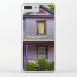 Quirky Purple House Clear iPhone Case