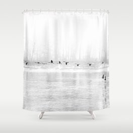 Canadian Geese flying formation  over the river through the fog Shower Curtain