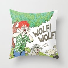 The Boy Who Cried Wolf Throw Pillow