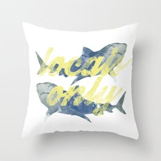 Locals Only Watercolor Throw Pillow