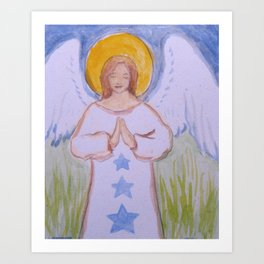 Angel with Stars 2 Art Print