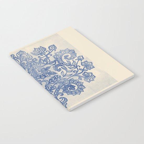 Indigo Blue Denim Ink Doodle Notebook