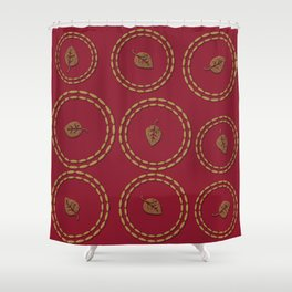 Bright Burgundy Red Copper Leaf Pattern Shower Curtain