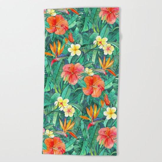Classic Tropical Garden Beach Towel
