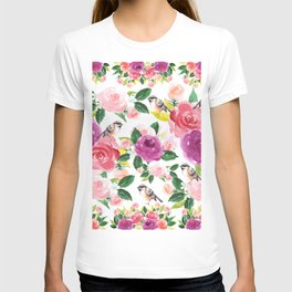 Colorful orange purple pink watercolor bird floral pattern T-shirt