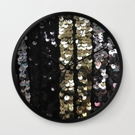 Sequins in Black, Gold and Silver Wall Clock