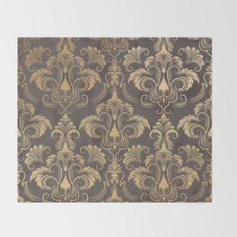 Gold foil swirls damask #10 Throw Blanket