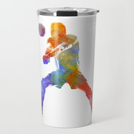 Volley ball player man 02 in watercolor Travel Mug