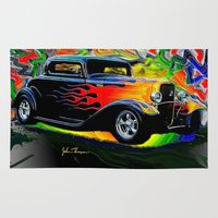 ford Area & Throw Rugs featuring 32 Ford by JT Digital Art