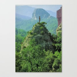 the man and the tower Canvas Print