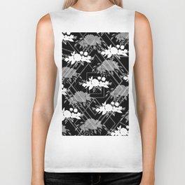 Geometrical modern black white floral pattern Biker Tank