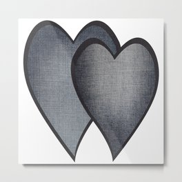 Two hearts. denim photocollage Metal Print