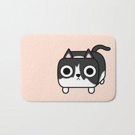 Cat Loaf - Tuxedo Kitty - Black and White Bath Mat