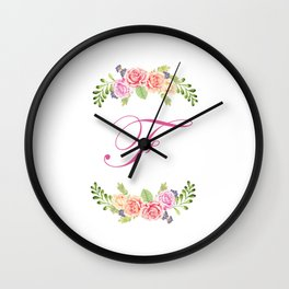 Floral Initial Letter F Wall Clock