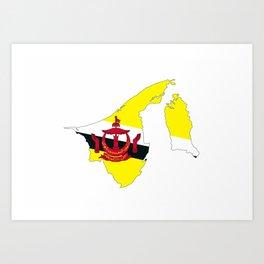 brunei flag map Art Print