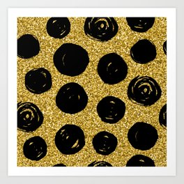 Hand Drawn Black Circle on Golden Background Art Print