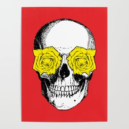Skull and Roses | Red and Yellow Poster