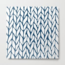 Hand Knitted Navy Metal Print