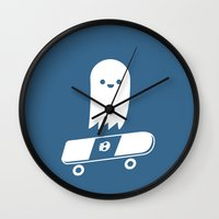 skate Wall Clocks featuring Skate Ghost by Terry Irwin