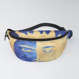 Golden Sun and Moon Symbol on Blue Background Fanny Pack
