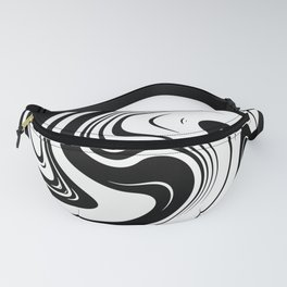 Black And White Spiral Swirl Fanny Pack